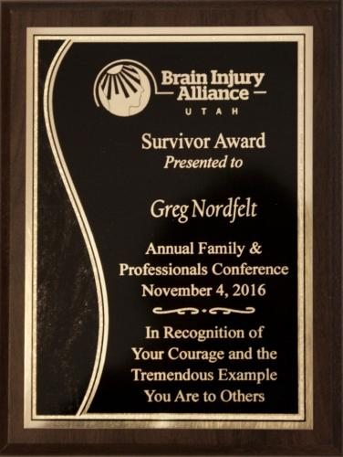 Survivor of the Year Award from the Brain Injury Alliance of Utah 10/16