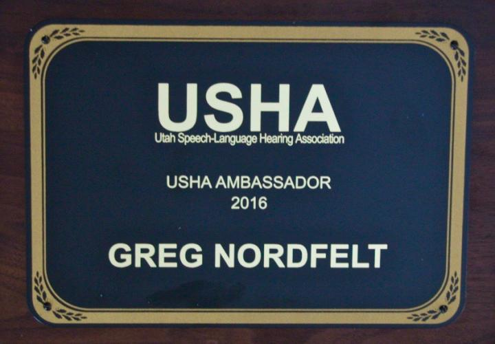 Ambassador of the Year Award from Utah Speech & Hearing Association of Utah 4/16